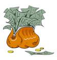 cartoon image of wallet full of money vector image
