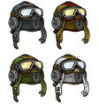cartoon retro aviator pilot helmet icon set vector image