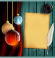 christmas balls decoration retro sheet vector image vector image
