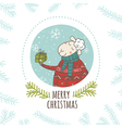 Christmas greeting card sheep with gift round vector image vector image