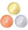 classic round sewing buttons of gold silver bronze vector image vector image
