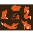 Colorful set of hand drawn cute red foxes in vector image