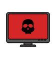 computer desktop with skull isolated icon vector image vector image