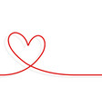 continuous line heart shape border with realistic vector image vector image