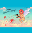 cupid in a mask shoots hearts from pistols vector image vector image