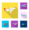 design of plane and transport icon set of vector image