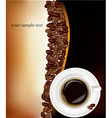 desing with cup of coffee and beans on black vector image vector image