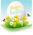 easter holiday background colofrul eggs in green vector image vector image