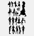 female people shopping and sport silhouettes vector image vector image