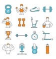 Fitness Flat Color Line Icons Set vector image vector image