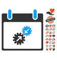 gears integration calendar day icon with dating vector image