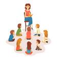 group preschool kids sitting on floorteacher vector image vector image