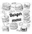 hand drawn burgers fast food menu cheeseburger vector image