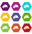 hardhat icon set color hexahedron vector image vector image