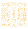 Line Circle Kitchenware and Cooking Icons Set vector image