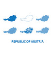 map of republic of austria - set of silhouettes vector image