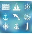 Marine set symbols vector image vector image