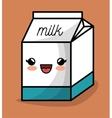 milk box kawaii happy icon design vector image vector image