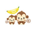 mom and bamonkey cartoon for mothers day greet vector image vector image