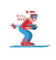 mountain skiing man riding on winter forest vector image