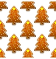 New year gingerbread tree seamless pattern vector image