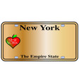 new york empire state plate vector image vector image