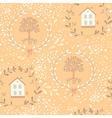Orange tree seamless pattern vector image
