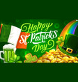 patricks day rainbow beer and irish flag vector image vector image