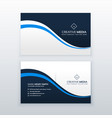 professional business card design with blue wave vector image vector image