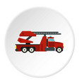 red fire truck icon circle vector image