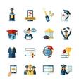 School graduation flat icons set vector image