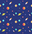 seamless adventure space pattern with rockets vector image
