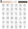 seo and development thin line web icons set vector image vector image