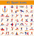 Set of 45 sport icons vector image