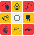 set of 9 eco-friendly icons includes insert woods vector image vector image