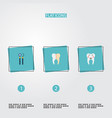 set of dental icons flat style symbols with mirror vector image vector image