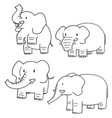 set of elephant vector image