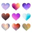 set polygon hearts vector image vector image