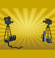 stage movie cameras pop art vector image