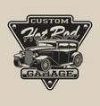 t-shirt design with a hot rod in vintage style vector image vector image