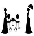 tea party vintage silhouette vector image vector image
