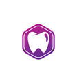 teeth care symbol in hexagon for dentist vector image vector image