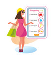 the concept girlfriends shopping in the style shop vector image vector image