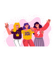 three girls friends stand together vector image