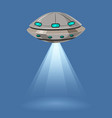 ufo flying spaceship isolated on blue background vector image