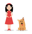 a little girl with her pet dog vector image vector image