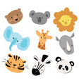 a set cartoon animals vector image vector image