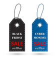 black friday and cyber monday sales tag grouped vector image