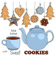 blue teapot and cup tea with different kinds of vector image