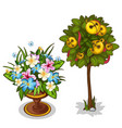 bouquet with butterflies and tree with bells vector image